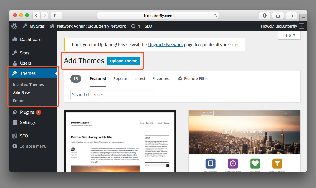 WordPress Documentation Add New Theme