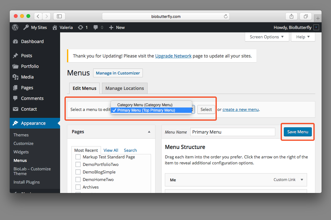WordPress Documentation Select and Save Menu
