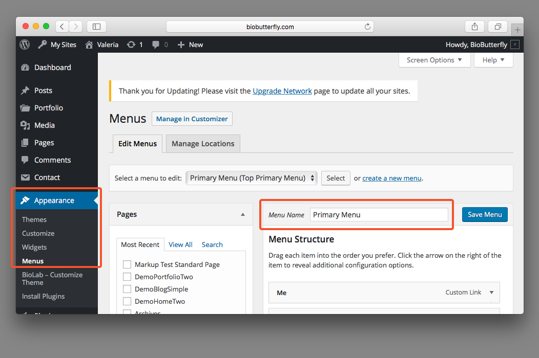 WordPress Documentation Primary Menu