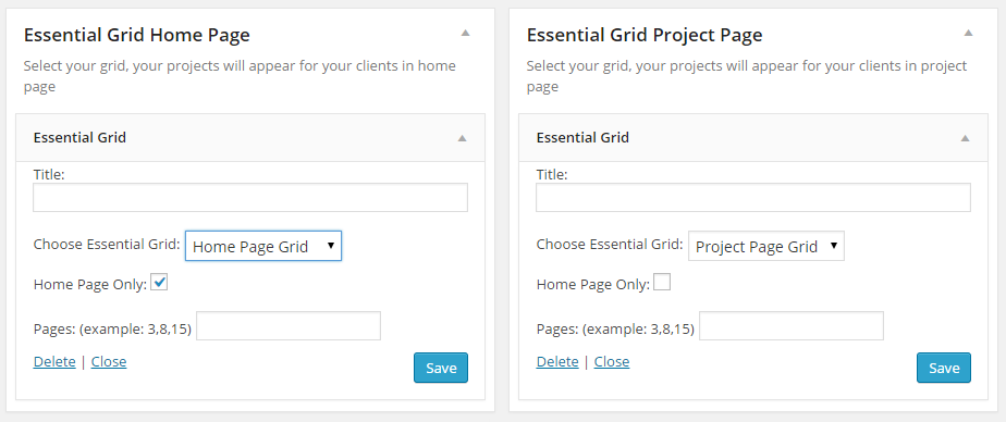 WordPress Documentation Essential Grid