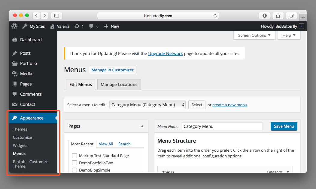 Documentazione WordPress Menu Categorie