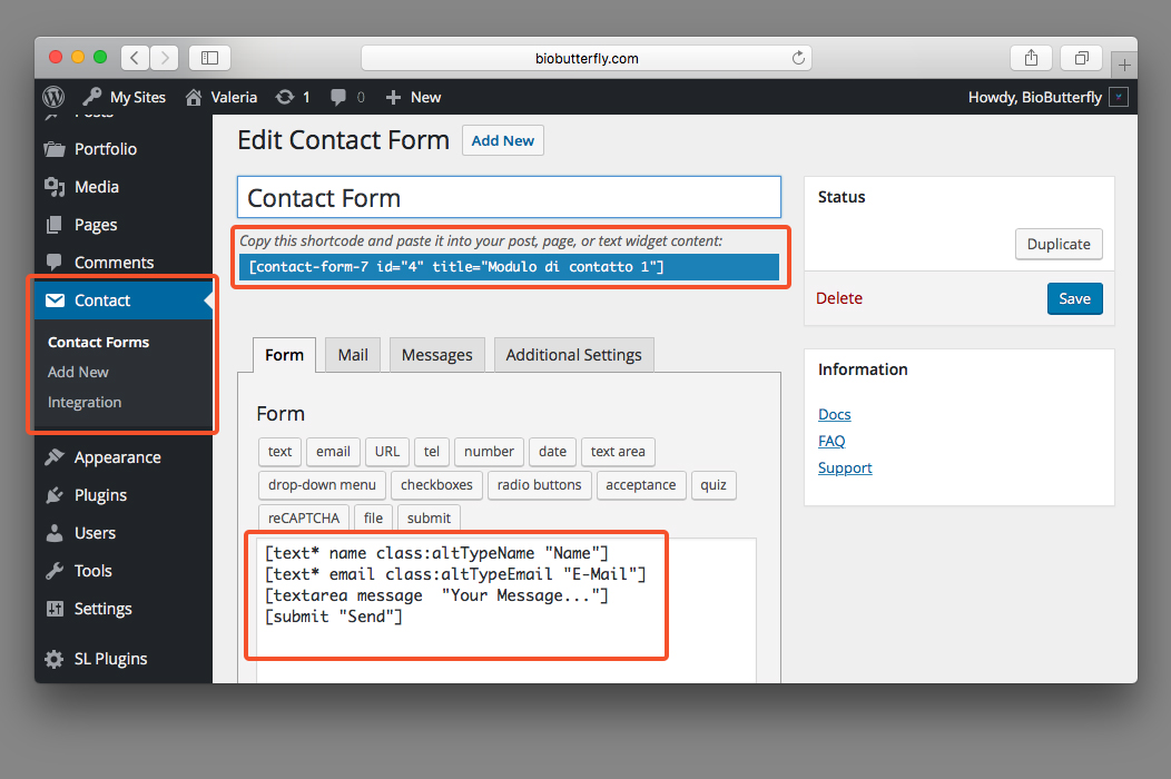 WordPress Documentation Create New Form