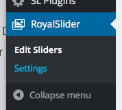 WordPress Documentation RoyalSlider Settings Path