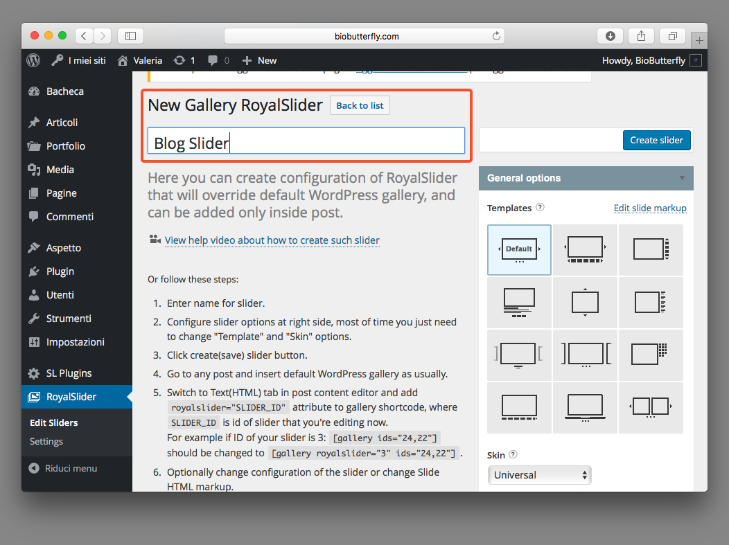 WordPress Documentation RoyalSlider Settings