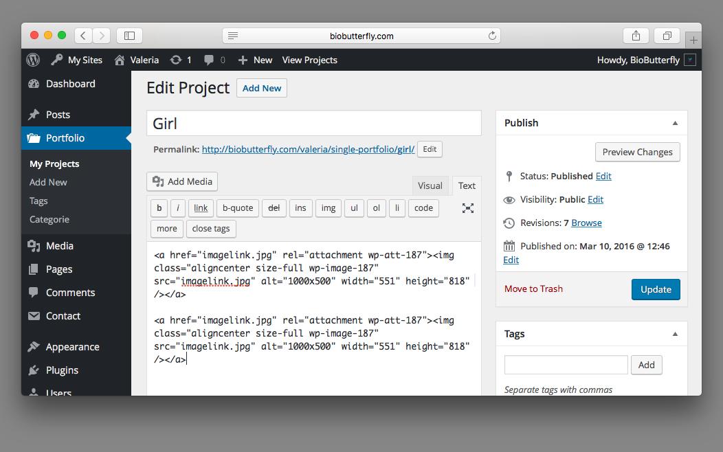 WordPress Documentation Images Link Example